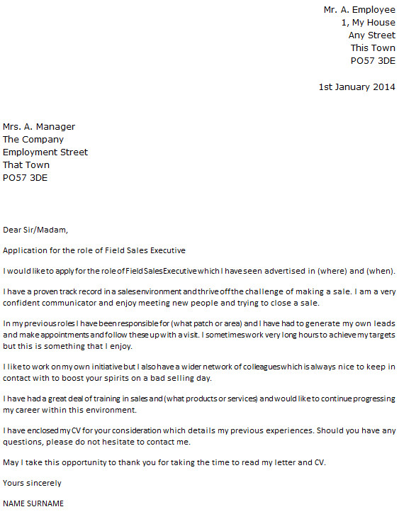field sales executive cover letter example