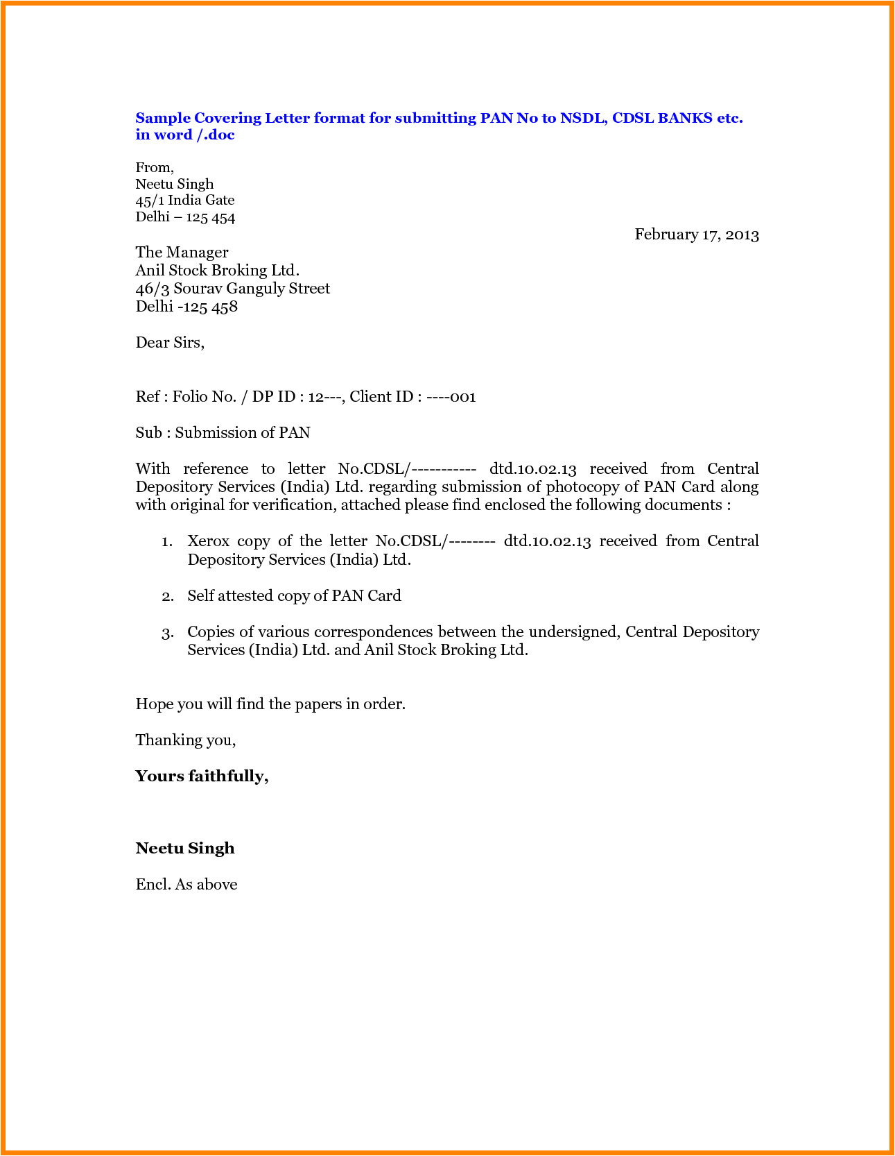 Covering Letter format for Document Submission 10 Letter format Enclosed Documents Ledger Paper
