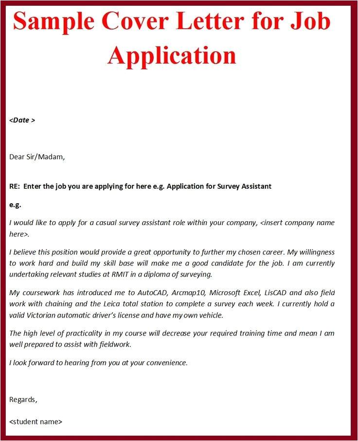 job application cover letter