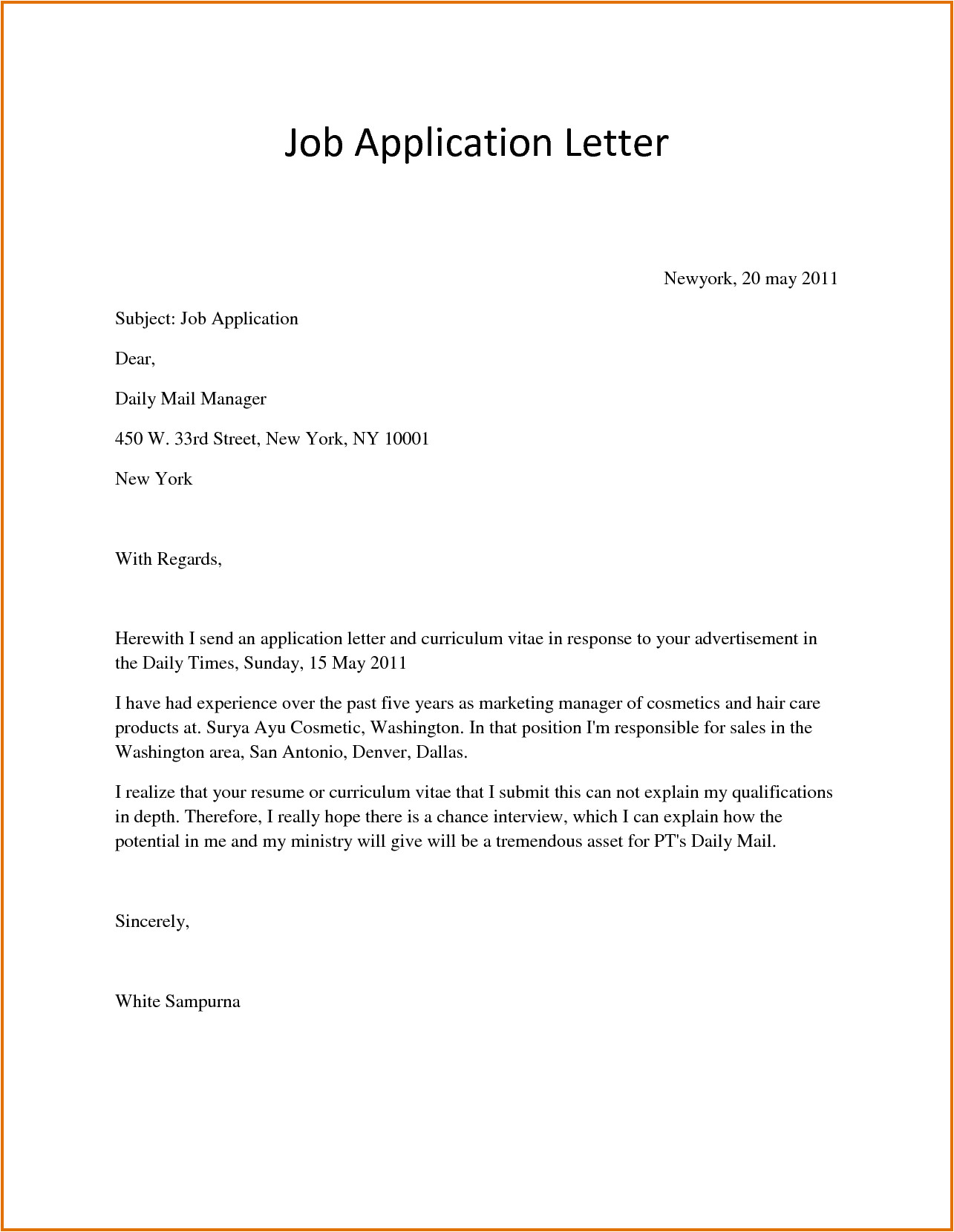 Covering Letter when Applying for A Job Sample Application Letter for Job Applyreference Letters