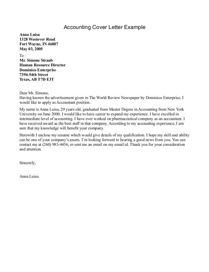 cover letter for accounting internship