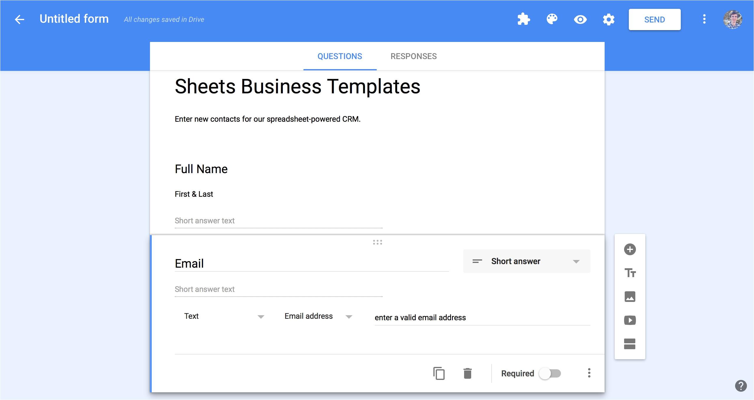 google forms sample