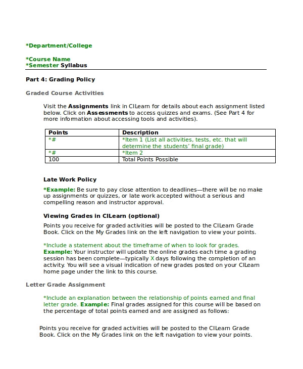 Create A Syllabus Template Syllabus Template 7 Free Word Documents Download Free