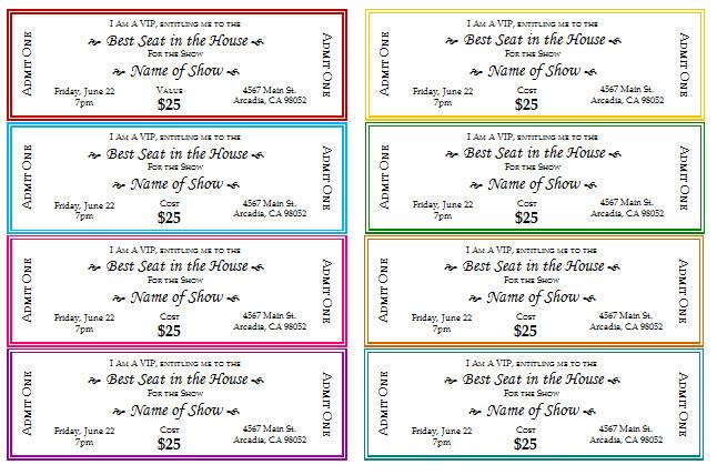 free printable event ticket templates