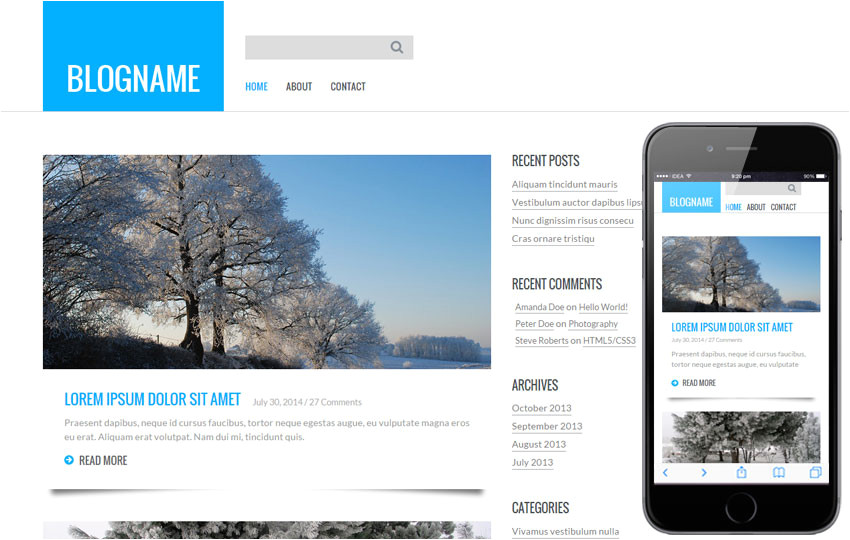 Create Blog Page Template WordPress Personal Blog A Blogging Category Flat Bootstrap