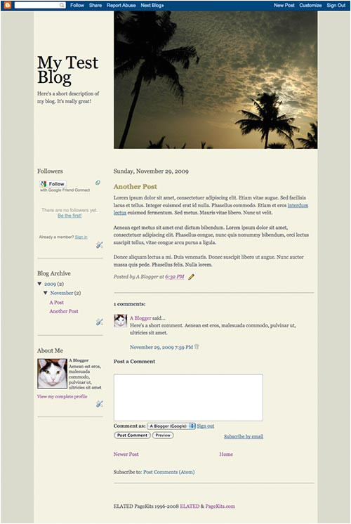 create your own blogger template
