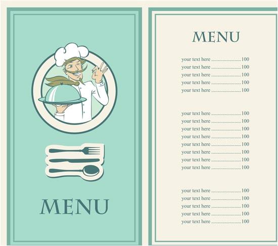 5 restaurant menu in vectorial format