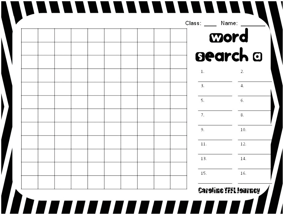 create your own word search template