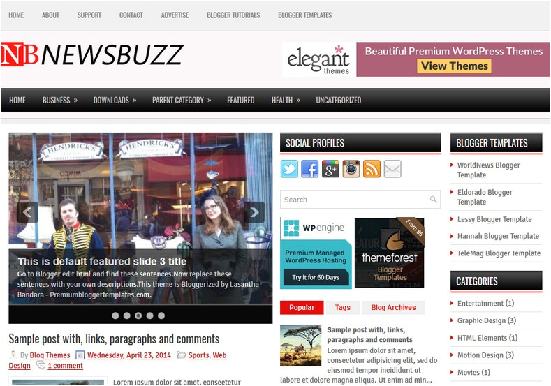 newsbuzz 3 columns blogger template