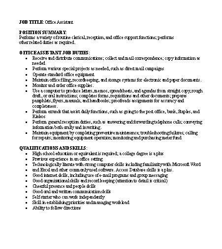 job descriptions samples