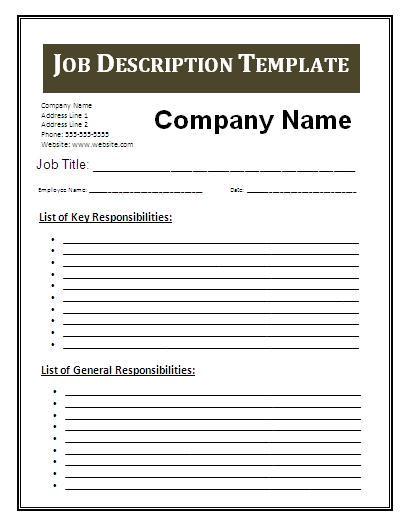 job description blank templates
