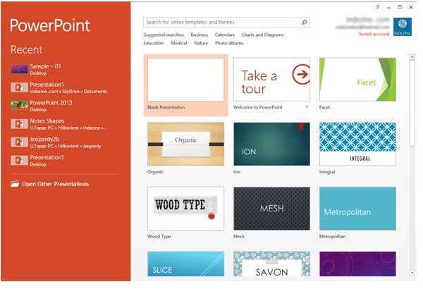 powerpoint 2013 interface