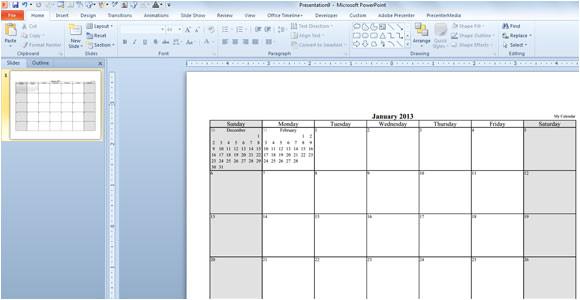free calendar template 2013 powerpoint