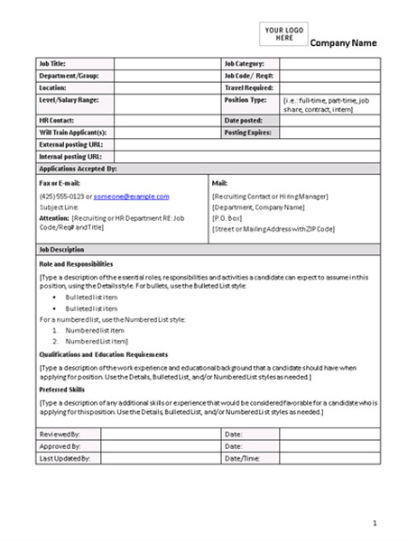 Creating Job Descriptions Template Blank and General Office Com