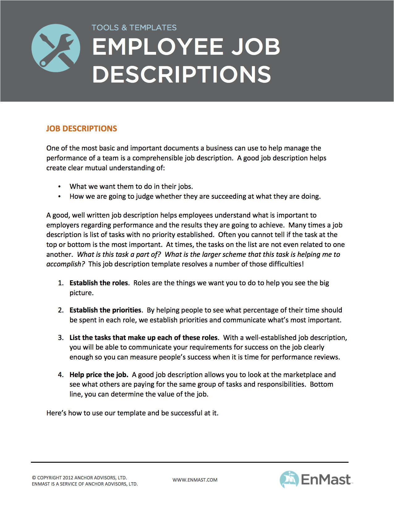 Creating Job Descriptions Template Employee Job Descriptions tool and Template