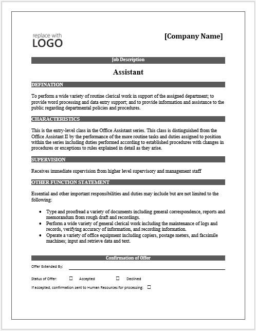 job description word template