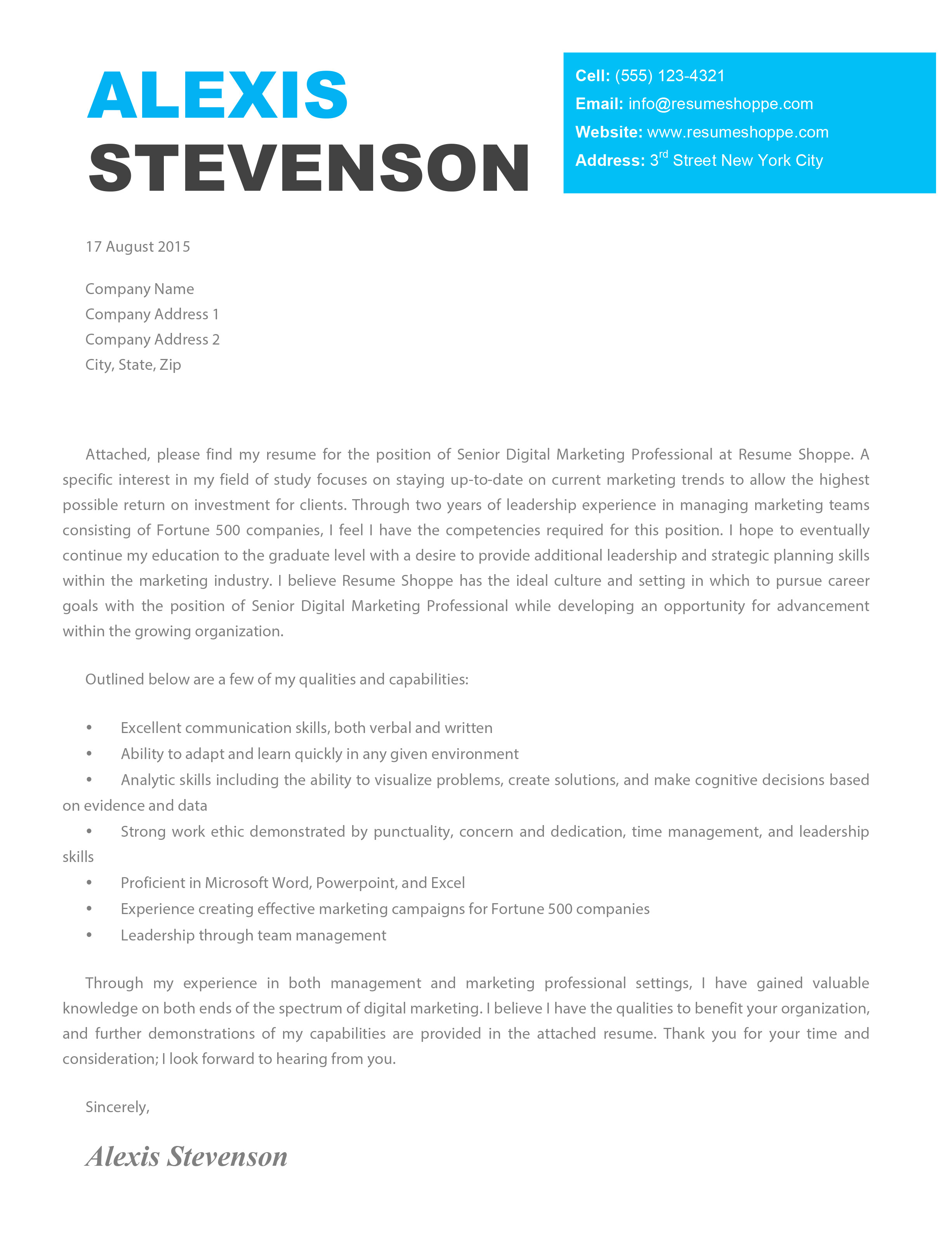Creative Cover Letters for Marketing the Alexis Cover Letter Creative Cover Letter