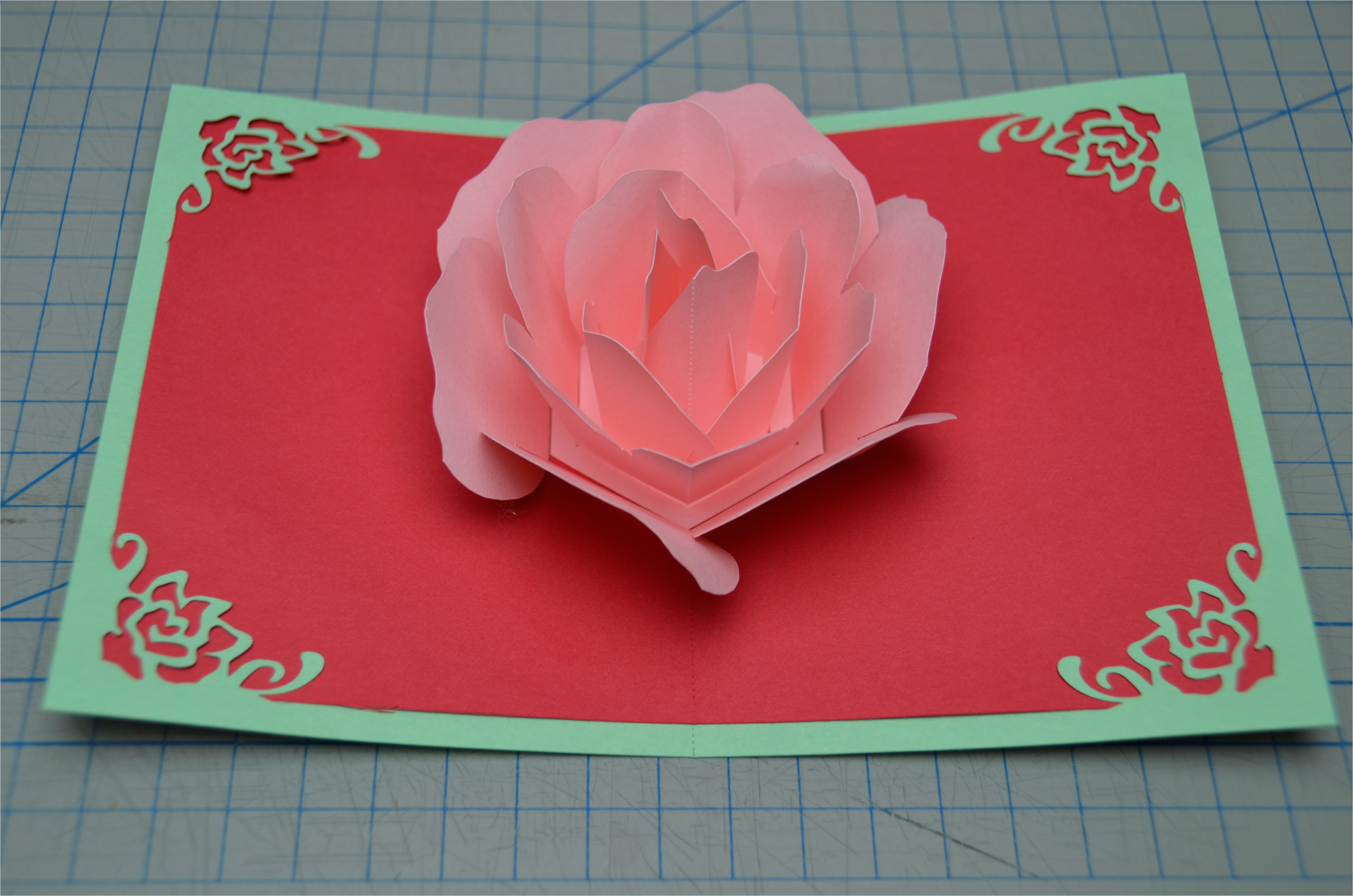 Creative Pop Up Cards Templates Free Rose Flower Pop Up Card Tutorial Creative Pop Up Cards