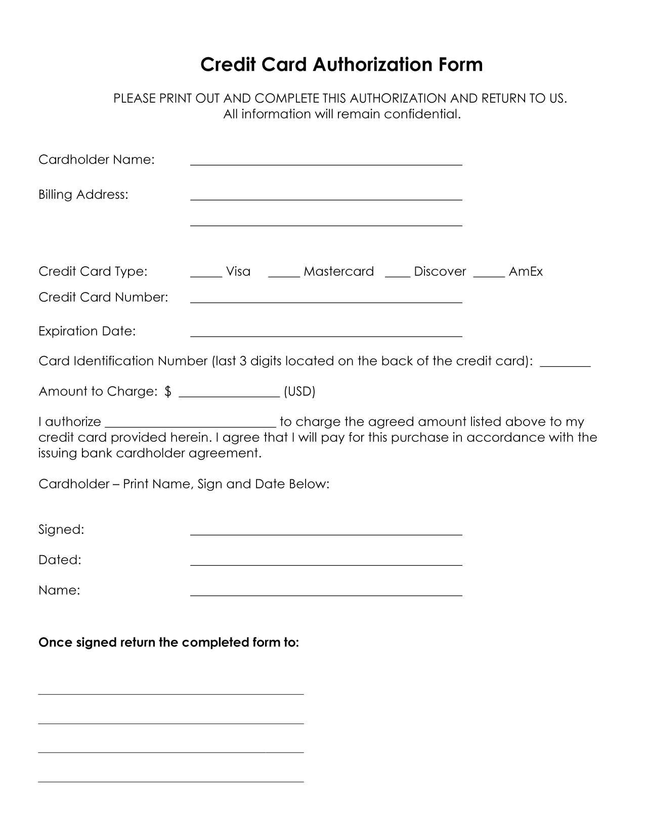 Credit Card Authorisation form Template Australia 25 Credit Card Authorization form Template Free Download