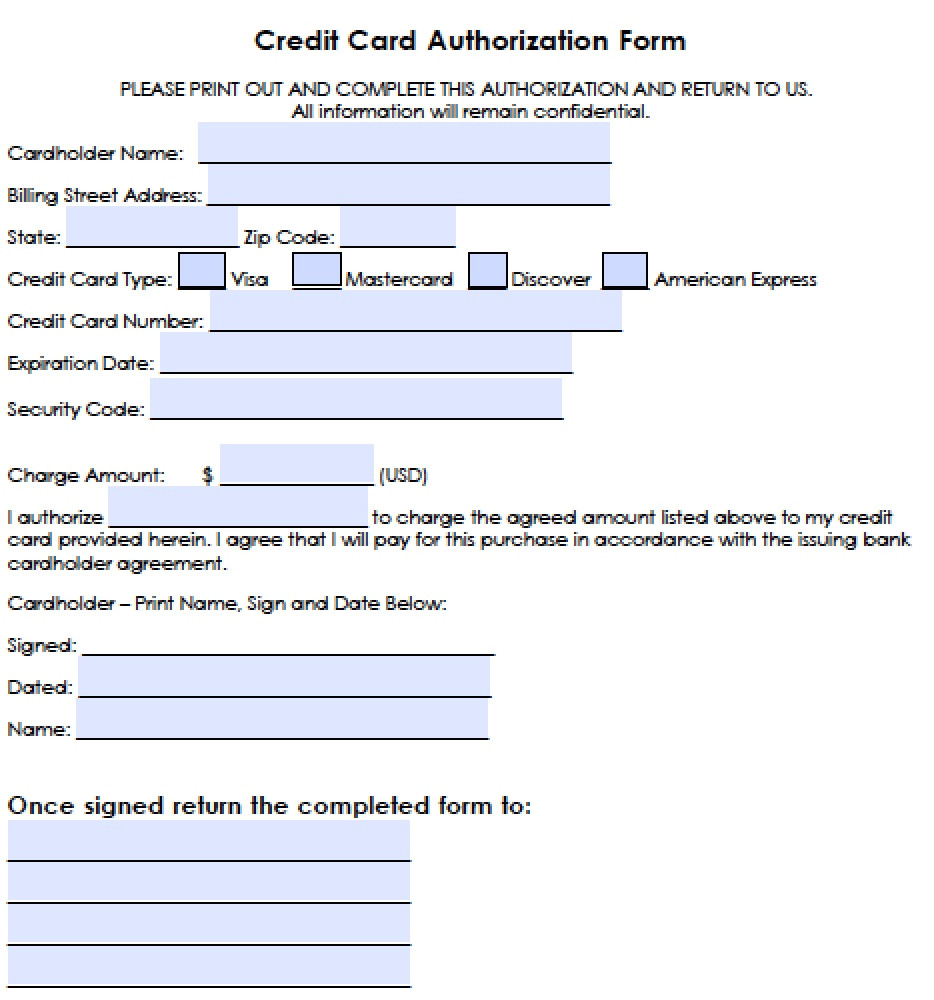 generic credit card authorization forms