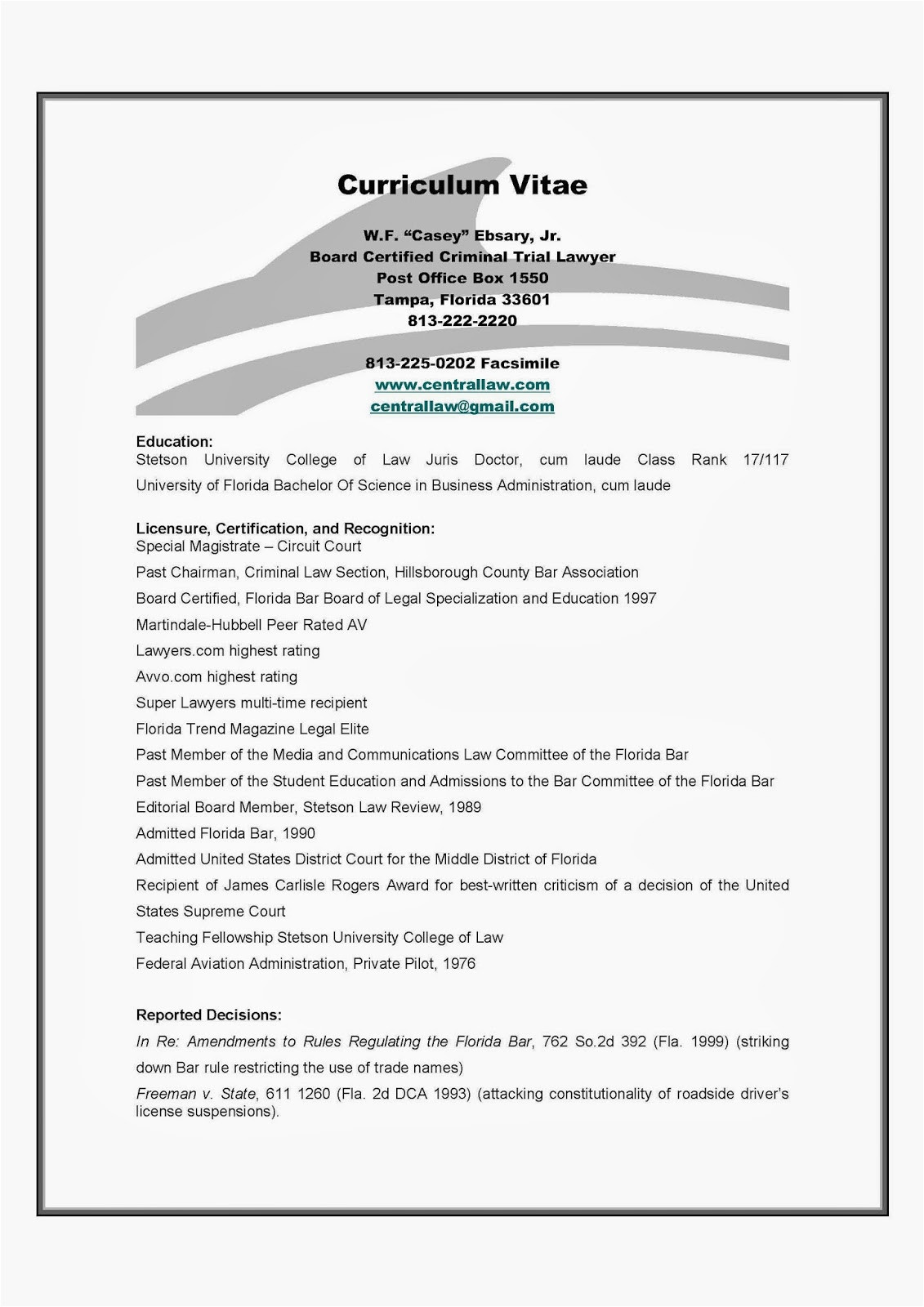 resume of tampa criminal defense attorney w f casey ebsary jr