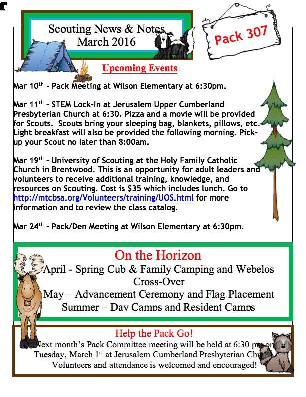 Cub Scout Pack Newsletter Template Cub Scout Pack 307 Murfreesboro Tn