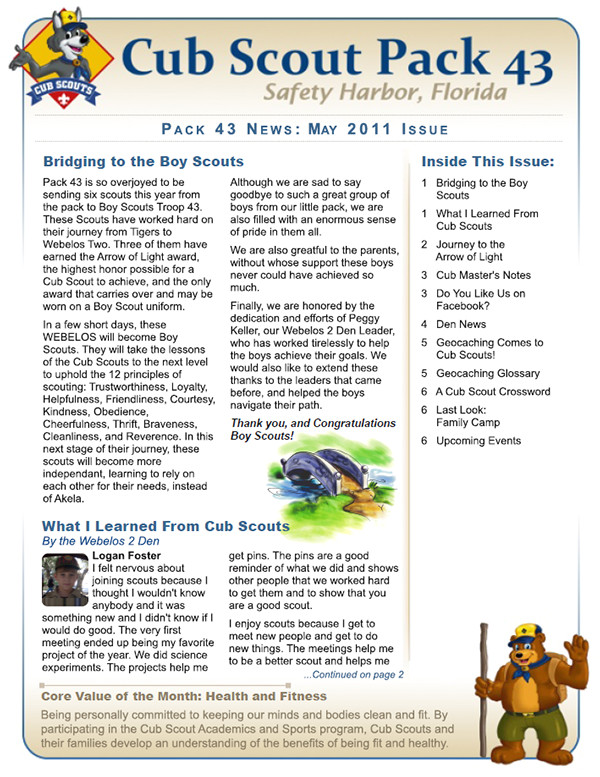 cub scout pack 43 branding and materials