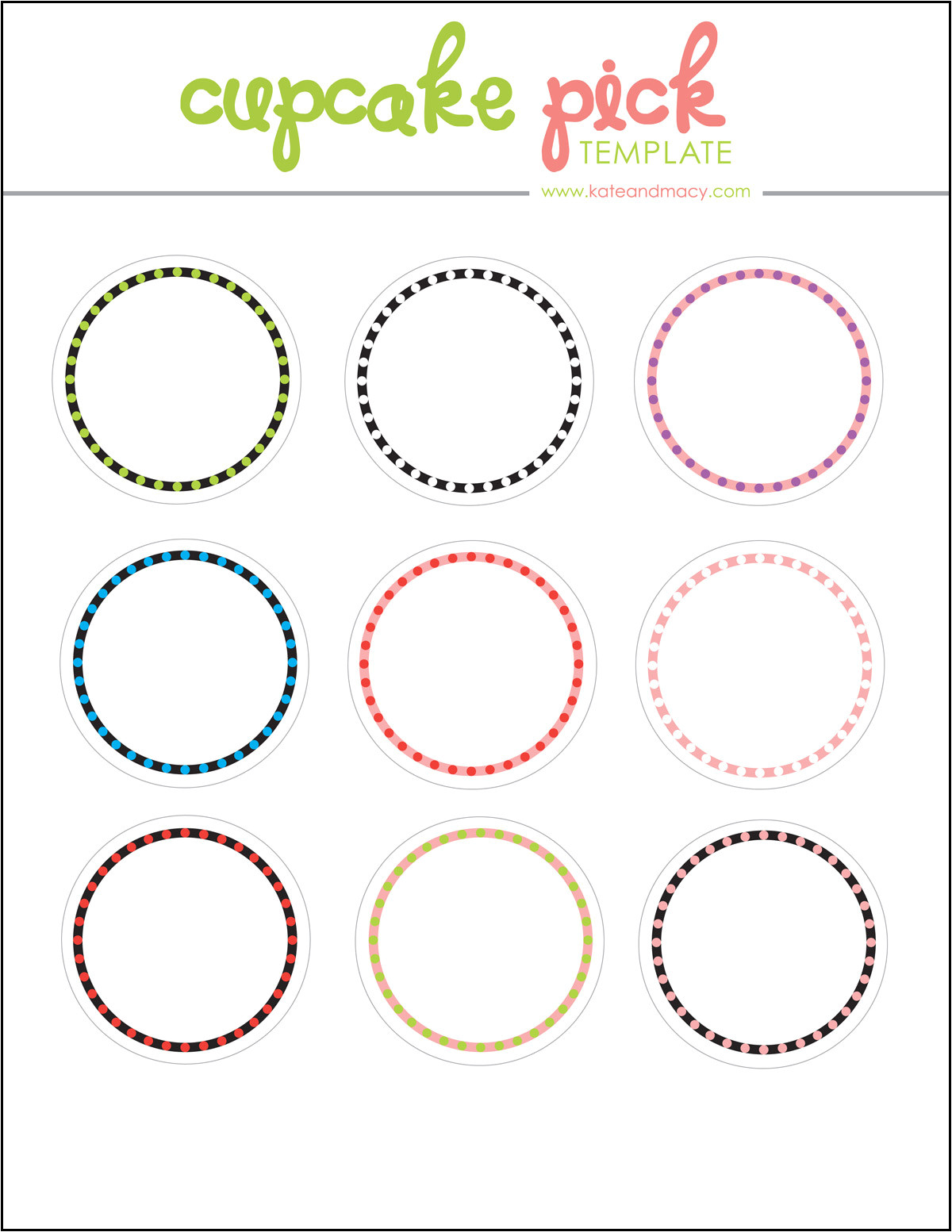 Cupcake Picks Template Kate Macy Free Digital Cupcake Pick topper Template