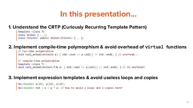 c the curiously recurring template pattern static polymorphsim and expression templates