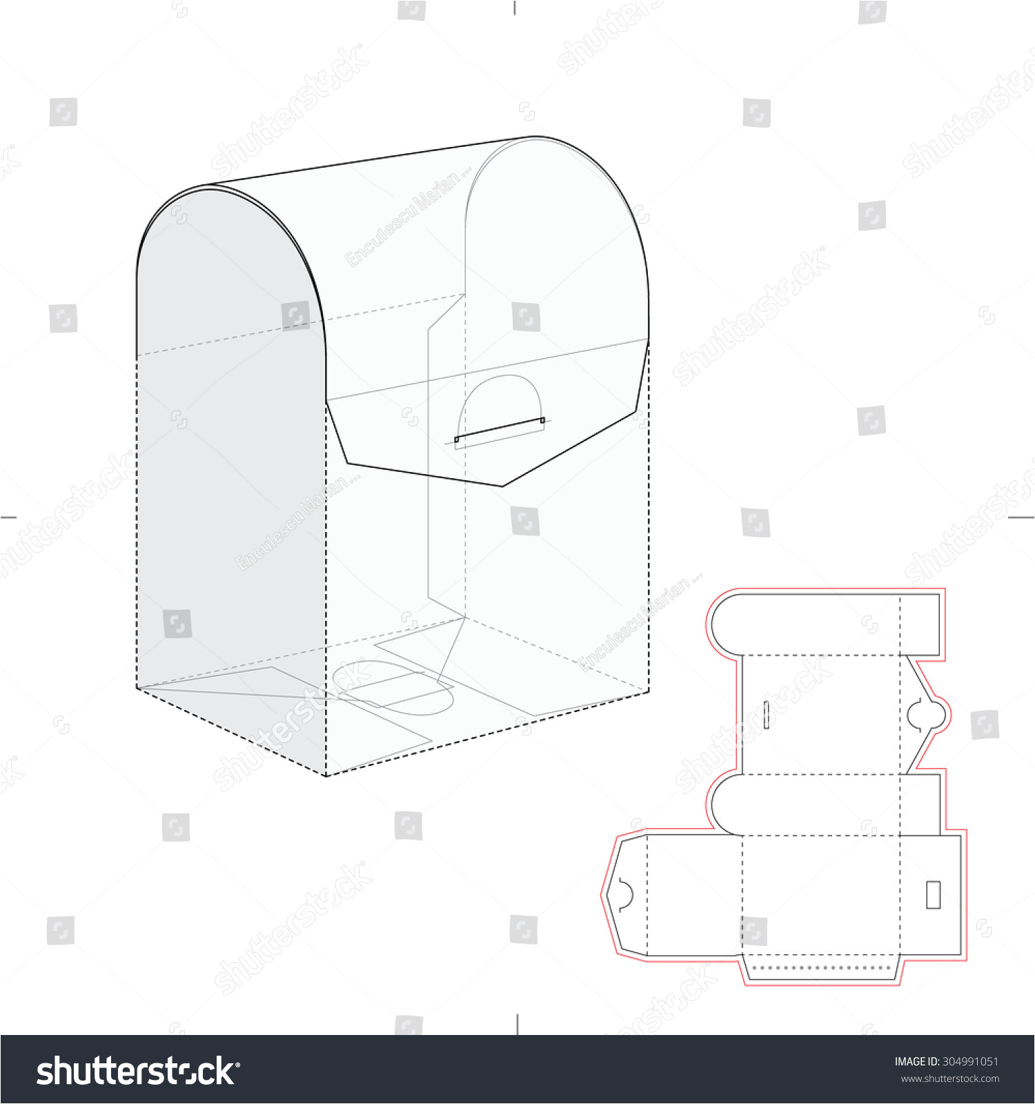 stock vector curved top retail box with blueprint template