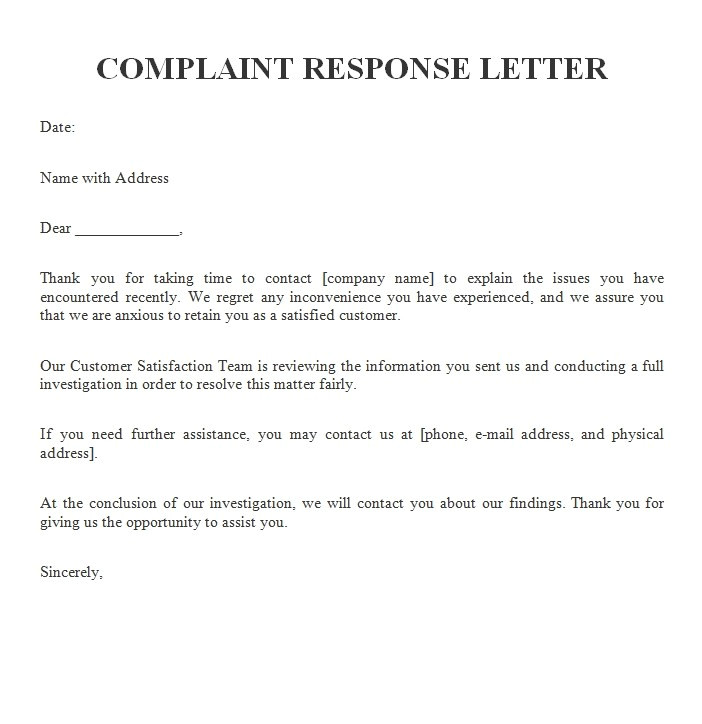 example customer complaint response letters