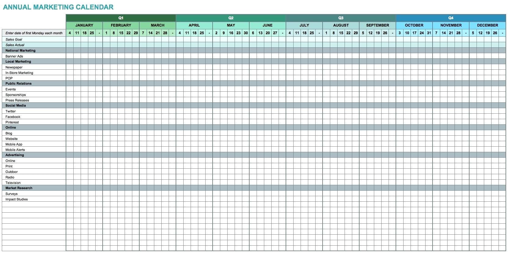 customizable calendar template 2014