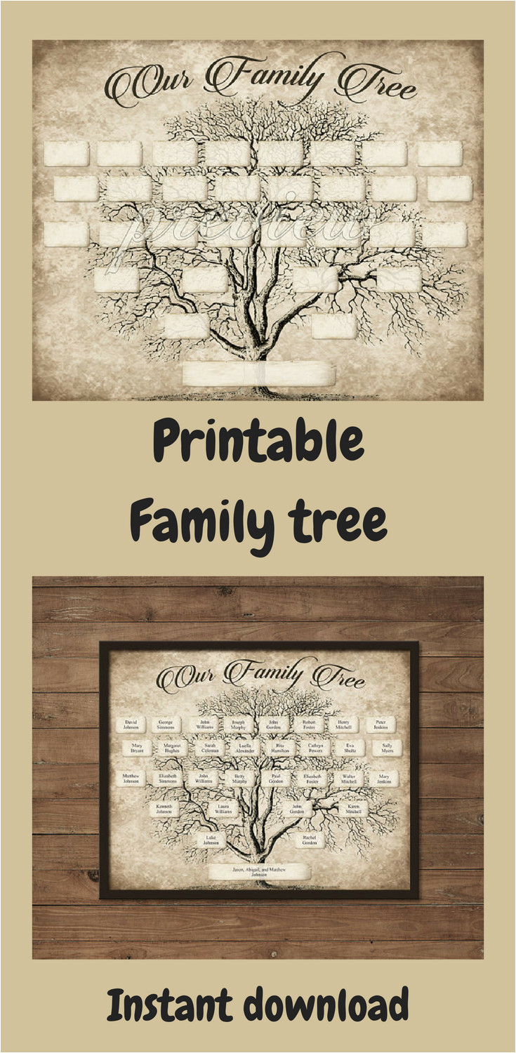Customizable Family Tree Template Custom Family Tree Printable 5 Generation Template