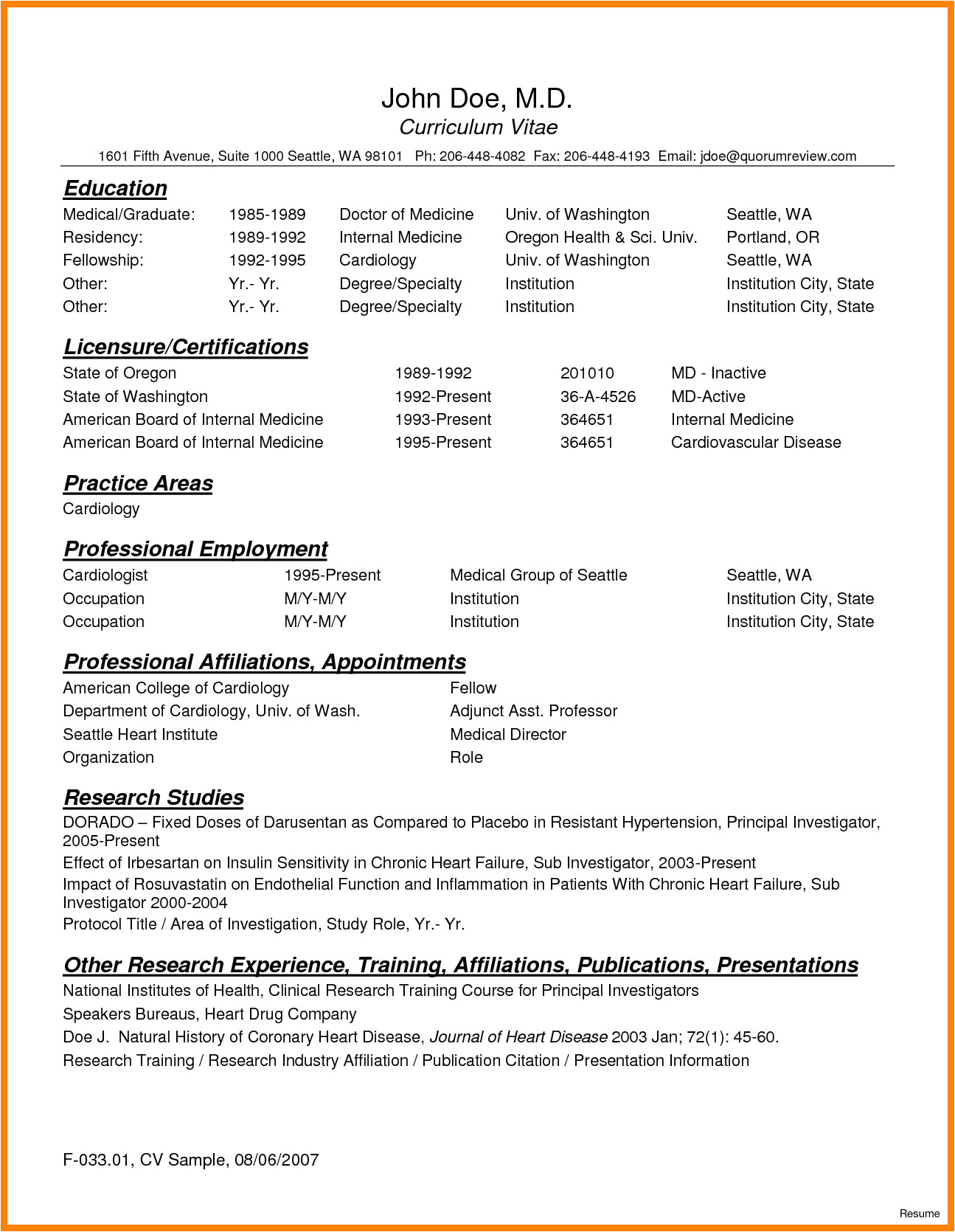 Cv Template for Physicians 8 Curriculum Vitae for Doctors Sample theorynpractice