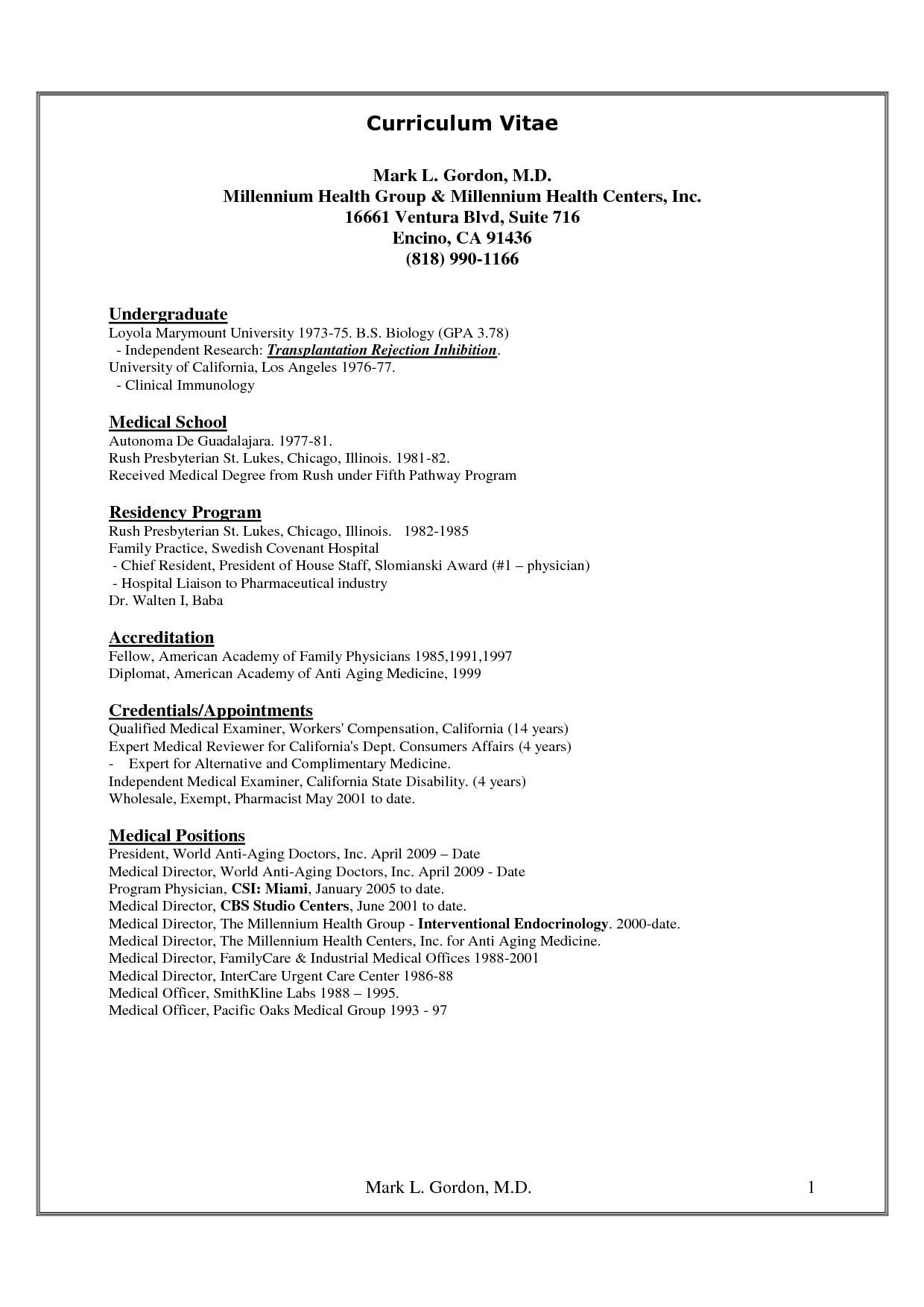 Cv Template for Physicians Cv Medical Cv Template