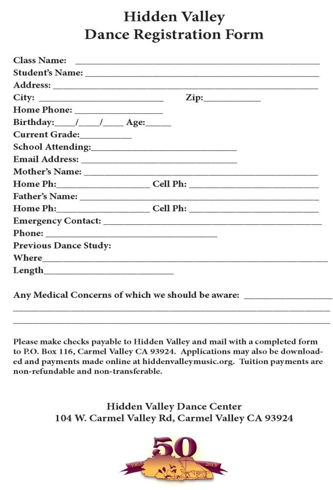 Dance School Registration form Template Free Dance Registration form Hidden Valley Music Seminars An