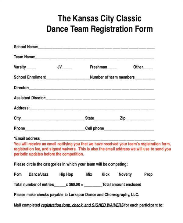 dance team registration form template