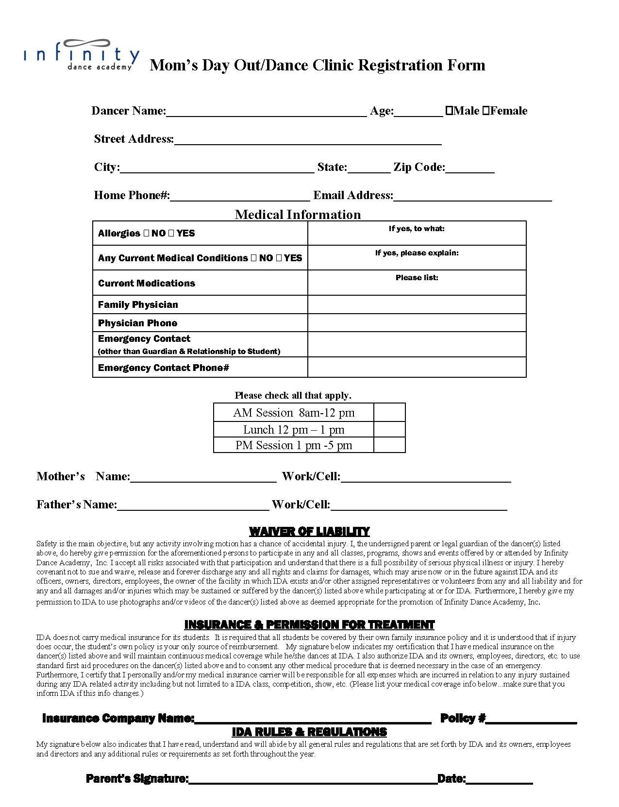 pin dance school registration form template on pinterest