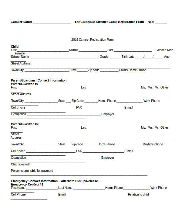 Dance School Registration form Template Free Registration form Template 9 Free Pdf Word Documents