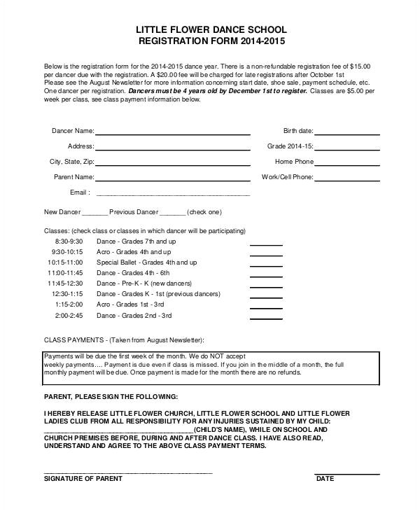 Dance School Registration form Template Free Registration form Template 9 Free Pdf Word Documents