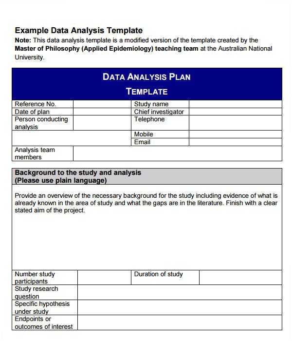 data analysis template