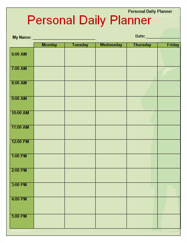 Day to Day Planner Template Free 8 Free Printable Daily Planner Templates Sample Templates