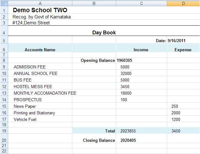 accounting daybook template