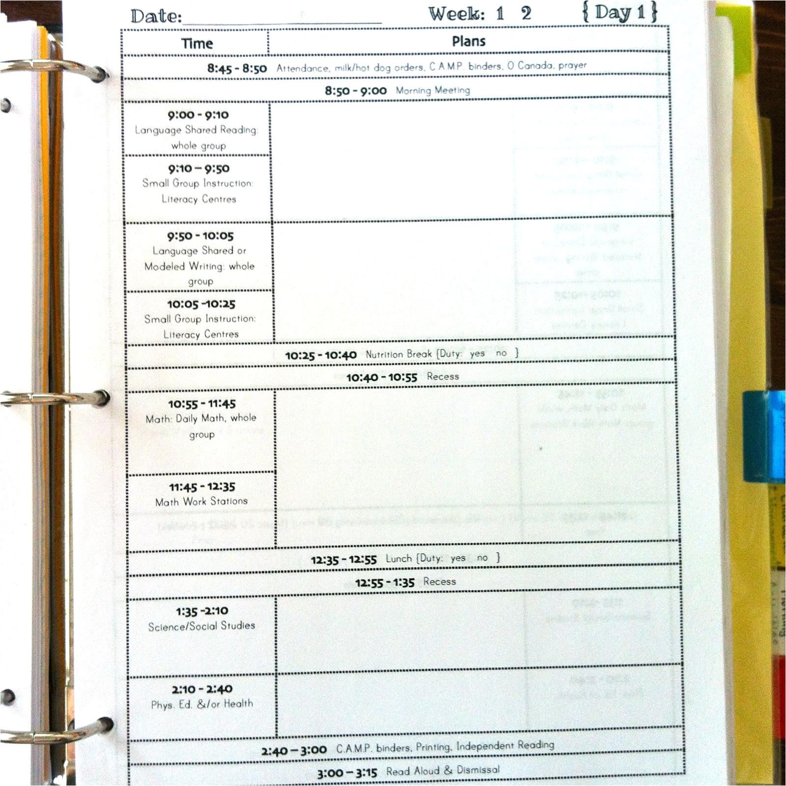 school week linky lesson planners