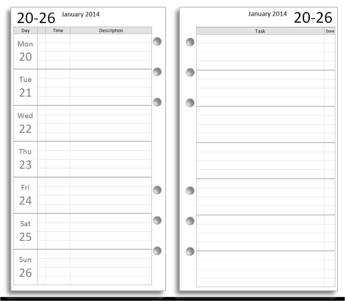 free filofax diary inserts to print on