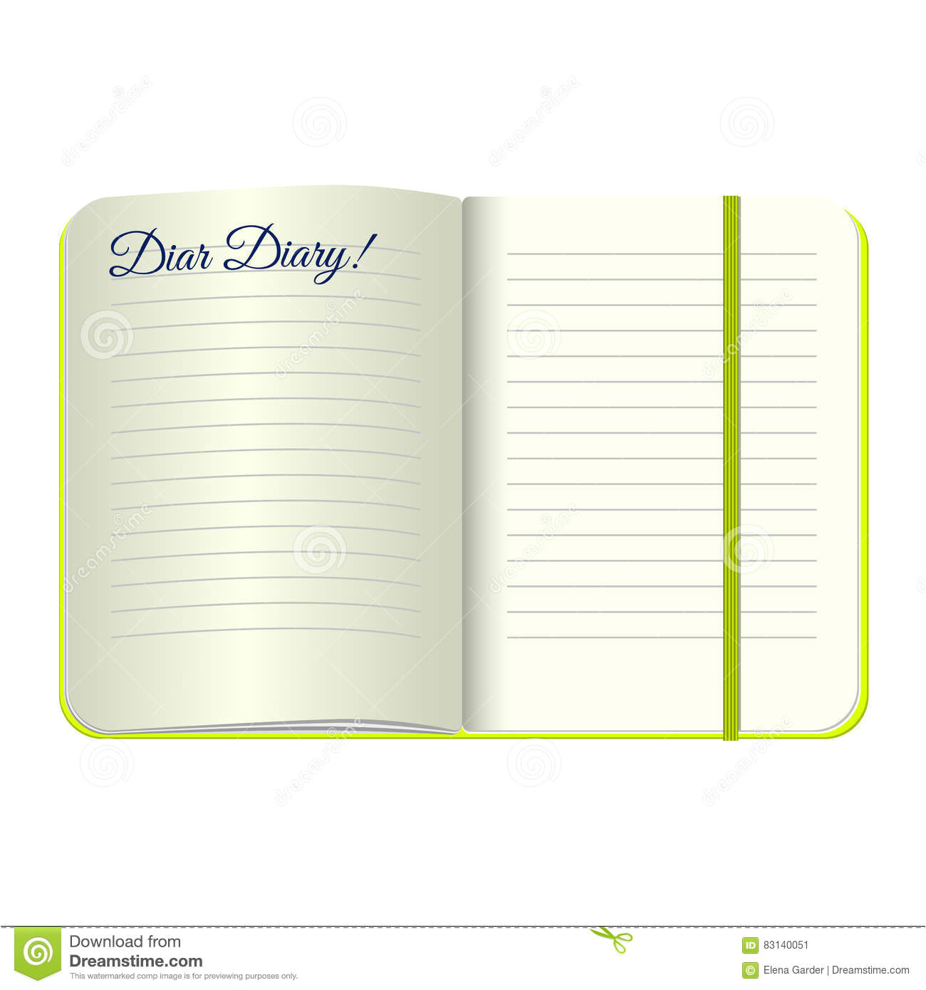stock illustration template open blank notepad words dear diary vector personal diary green cover bookmark white background image83140051