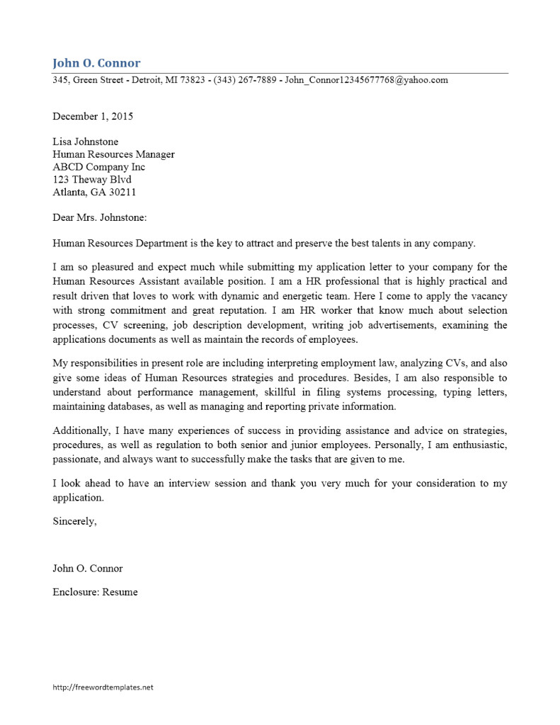 cover letter dear of human resources