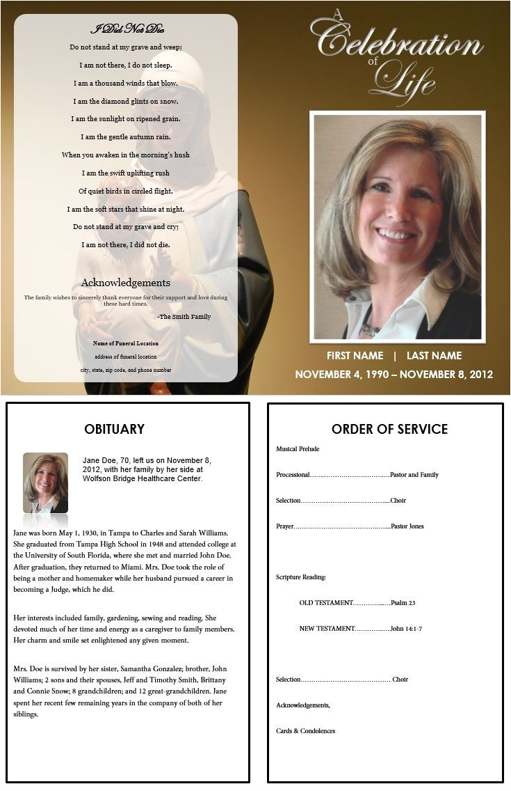 Death Program Templates 73 Best Printable Funeral Program Templates Images On