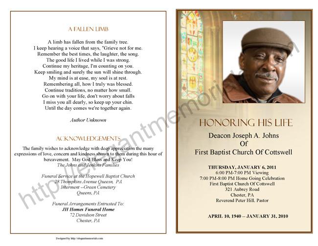 obituary program sample