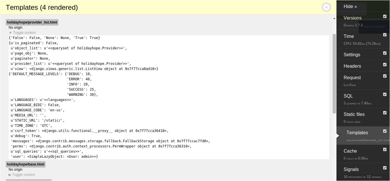 django debug display all variables of a page